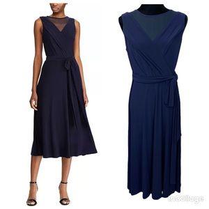 NWT Ralph Lauren Mesh-Yoke Belted Jersey Dress 6